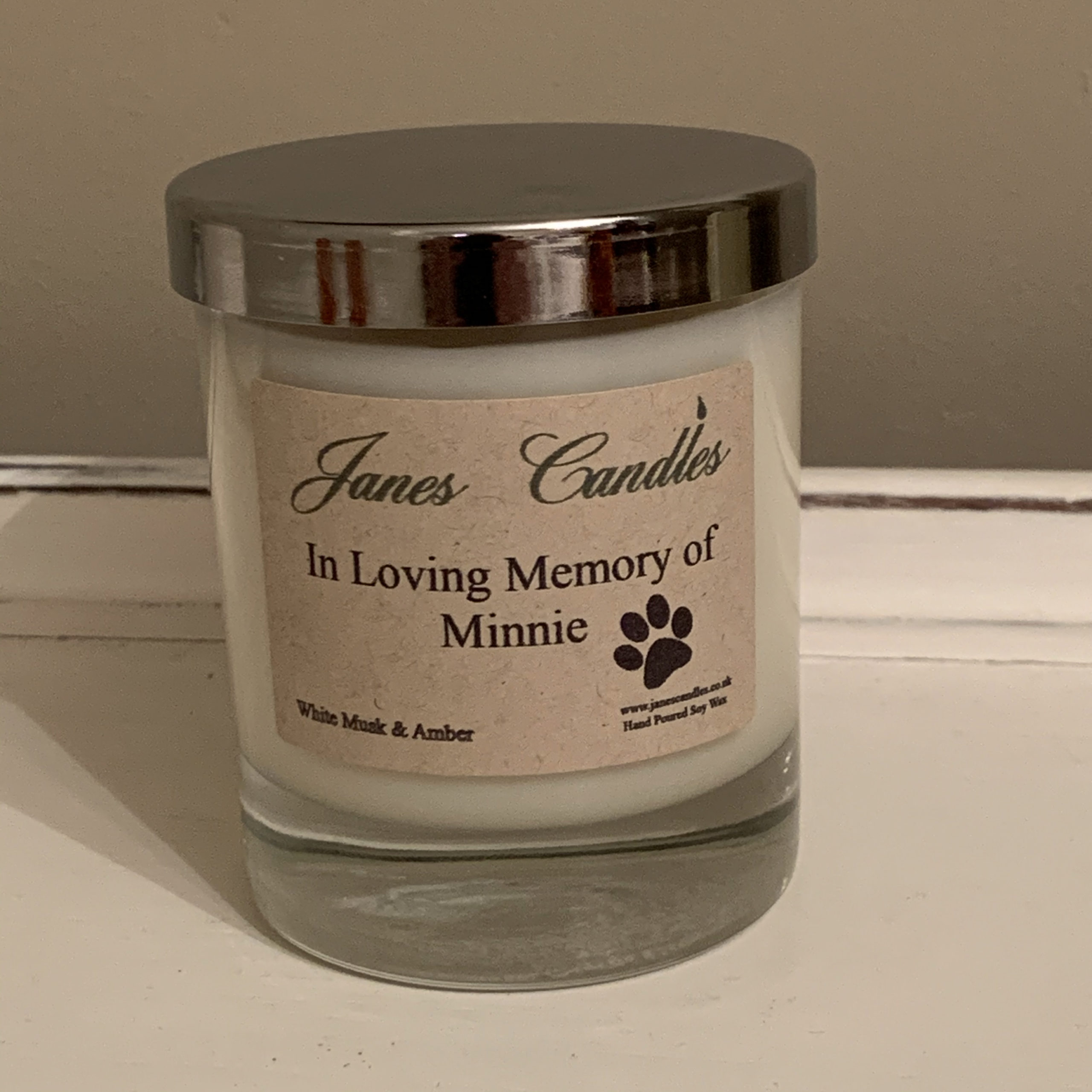 Pet personalised candle label